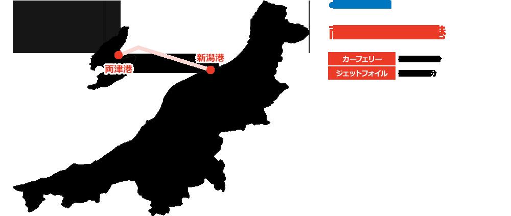 新潟から佐渡のアクセスマップ